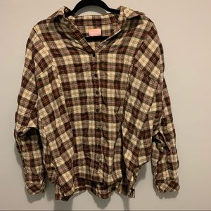 Wishful Thinking Flannel, Button Down, Brown & Red